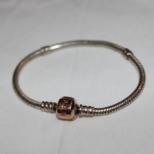 Silver Charm Bracelet with Rose Gold Pandora Clasp